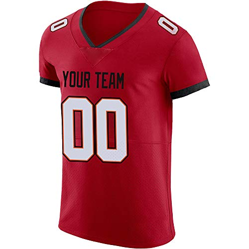 TASUN Custom Football Jerseys Elite Design Your Own Embroidered Names and Numbers for Men Size 4XL,White/Orange/Black Lettering-Red Jersey