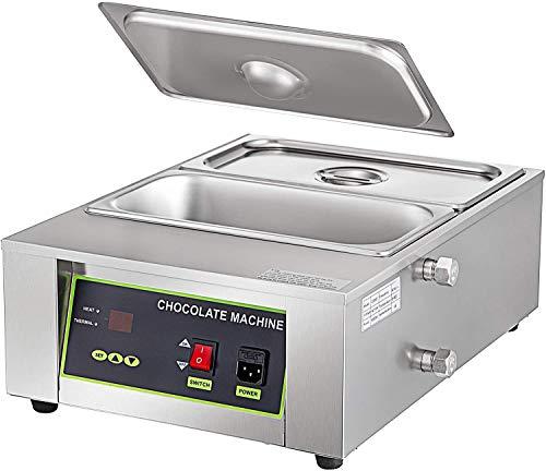 LJXiioo Elektrische Schokoladenschmelztiegelmaschine 2 Tanks Kommerzielle elektrische Schokoladenheizung 1000W Digitalsteuerung Elektrische Schokola