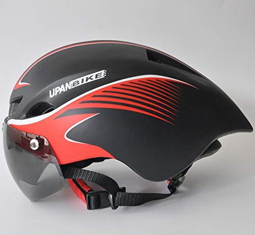 Casco de bicicleta de carretera con gafas magnéticas ajustables casco de ciclismo para adultos BMX bicicleta de montaña (negro mate con rayas rojas)
