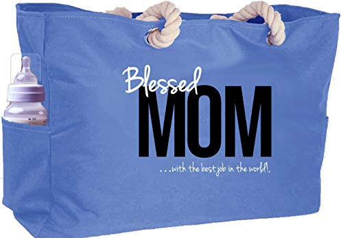 KEHO Waterproof Mom Diaper Bag XXL (HUGE) Baby Shower Gift Rope Handle Pockets (Blue)
