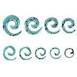 Espeedy 9 Pares de oído tapón túnel Espiral Taper Carne Orejas ensanchador expansor Estiramiento Cuerpo Piercing joyería