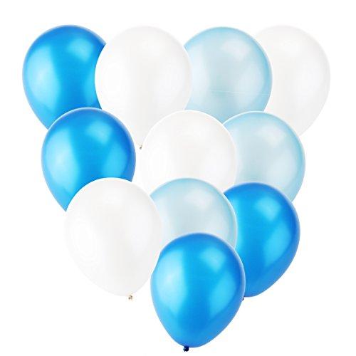 TOYMYTOY 12 Zoll Latexballons Party Luftballons Spielzeug für Kinder 30pcs (Marine blaue Licht blau weiß)