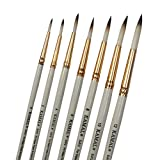 KAMAL® Round White Brown Handmade Artist Quality Painting Brush Taklon/Synthetic Hair Handle -Red/White
