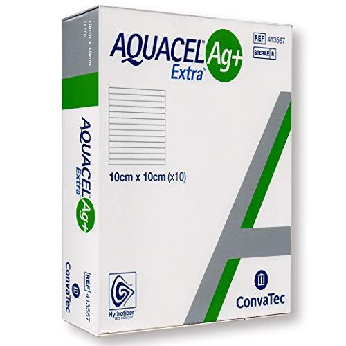 Aquacel Ag+ Extra, apósito cuadrado para herida, 10x 10cm