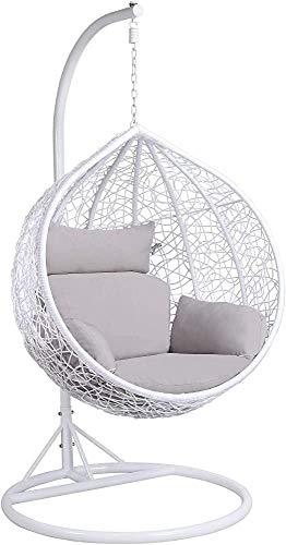 Terraza oscilación del jardín silla colgante silla de huevo interior y exterior puede contener 150 kg,White