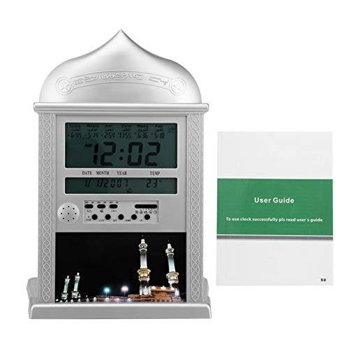 HAN XIU Muslimische Azan-Wanduhr-Gebetsuhr Islamische Uhr Azan Tischuhr mit muslimischen Mondkalender, Weltzeit, Temperatur, Azan-Zeit erinnern