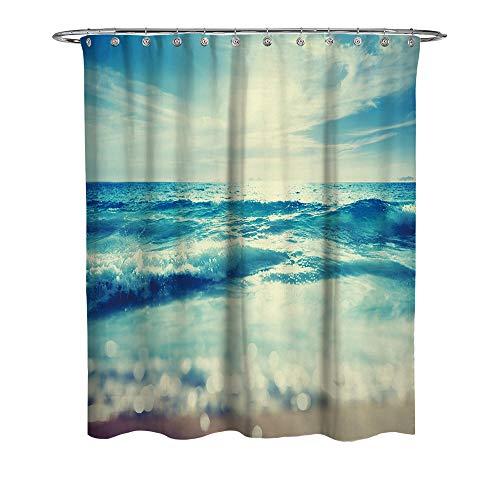 WFLJ Zee-landschap patroon badkamer gordijn voor Home Decor, waterdicht en meeldauw gemakkelijk te plaatsen stof douchegordijn voor bad bad bad en douchecabine, met 12 stuks haken