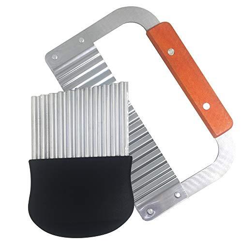 FineGood 2 piezas de cortadora de arrugas, 18,25 cm y 14 cm, cuchillos de corte de patatas fritas, cortador de cuchillas de acero inoxidable, cortador de ensalada de frutas y verduras