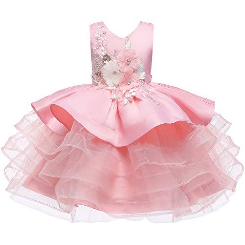 LuckyGirls Princesse Robe Petite Fille élégante Robes de soirée cérémonie Filles Enfants Robes de mariée Mariage décontracté Robe sans Manches