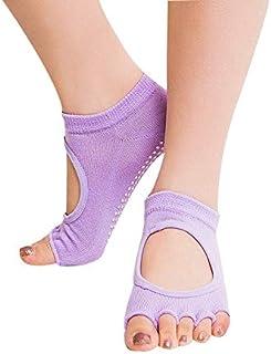 SGJFZD 3pairs/Set Constant Poly Boring Dispensing Yoga Socks Ladies Slip Open Toe Back Five Fingers Socks Sports Socks, Color Random Send (Color : A Random)