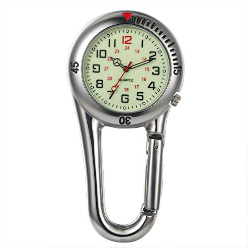 Clip On Quartz Watch for Men and Women Glow in The Dark Backpack Buckle Belt fob Watch for Doctors Nurses Chefs Hiking or Climbing - Silver