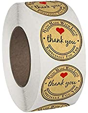 """500PCS Thank You Stickers with Heart Design on Brown Kraft Paper, Wonderful for Wedding Thank You Card Envelopes, Small Business Bags and Gift Packages, 1.5"""" Round Thank-You Stickers"""