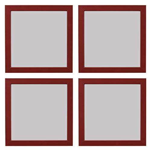 Ikea FISKBO - Marco de fotos cuadrado (21 x 21 cm, 4 unidades), color rojo oscuro