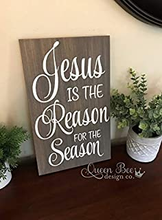 CELYCASY Jesus is The Reason for The Season Wood Sign.Handpainted Wood Sign.Wood Sign.Christmas Decor.Holiday Decor.Rustic Wood Sign.Jesus Wood Sign