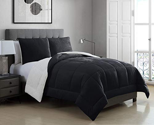 3 Piece Micromink Sherpa Silky Smooth Plush Oversized Black Comforter Set King