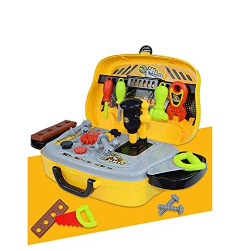 MGJX Kit de herramientas para niños, bolso de mano con 20 herramientas, juego de juguetes de construcción, juguete educativo de construcción de bricolaje, regalo creativo para niños pequeños, niñas, a