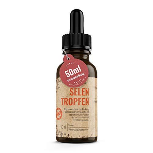Selen Tropfen Hochdosiert 220 µg pro 4 Tropfen - 50ml - 55 µg Selenium Pro Tropfen - Veganes Natriumselenit - Mit Pipettenmontur