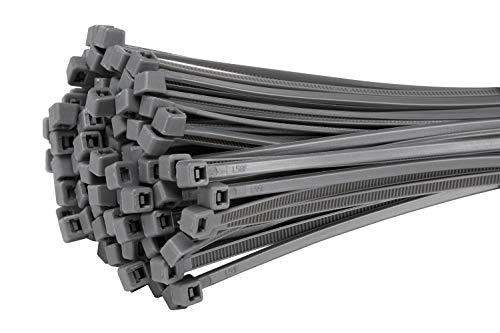 Fix&Easy Kabelbinder 2,5x200mm Silber grau anthrazit 50 Stück Set für Sichtschutz Windschutz Blickschutz Balkon