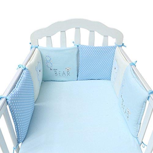 6 Piezas Set de Ropa para Cuna de Algodón, Protector de Cuna para Bebé, Esponjosa y Suave, Bordado de Dibujos Animados 30 * 30 cm Azul