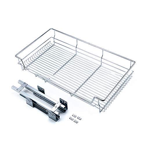 Roestvrij Stalen Kast Pull Pull Mand, Verzinkt Vierzijdige Ovenschaal Rek Moderne Eenvoudige Praktische Small Gift Basket Flat,Silver,600E