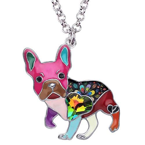 DUOWEI Metal Enamel French Bulldog Pug Dog Necklace Heart Shaped Colorful Rhinestone Pendant Cute Design for Women Girls (Multicolor)