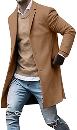 Men's Fall Winter Warm Blazer Casual Long Sleeve Button Jacket Windbreaker Men's Slim Suit Jacket Trench Coat S-3XL