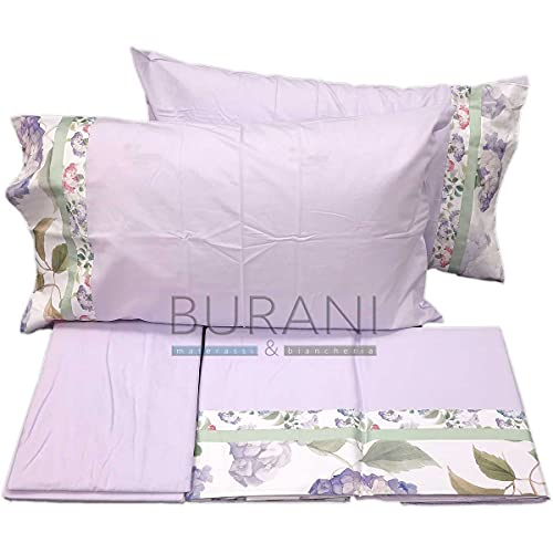 Fazzini - Sábana de franela con hortensias de color lila para cama de matrimonio (sora sábana de 260 x 295 cm + 1 sábana bajera de 180 x 200 x 30 cm + 2 fundas de almohada de 50 x 80 cm)