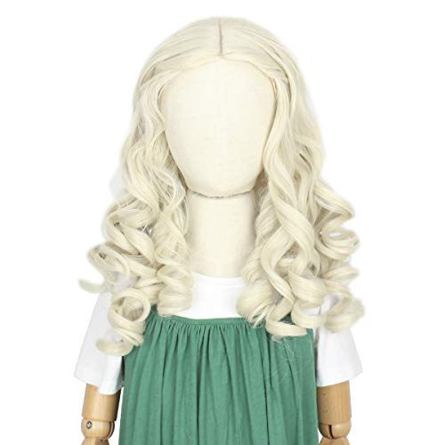 Cosela Princess Blonde Kids Wig - White Queen Hair Platinum Curly Halloween Costume Wig