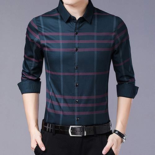 SHENSHI Herren Hemden,Langarm-Button-Down-Shirt Lässiges Kariertes Hemd Slim Fit-Hemd Partyhemden Herrenbekleidung, Grün, X, Groß