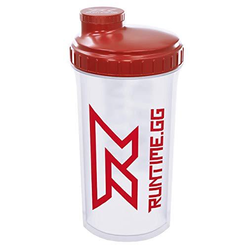 Runtime Protein-Shaker | Sport-Flasche für Nutrition und Fitness | 700ml Fassungsvermögen | mit Sieb - 100{302c335505ff56aabb1d80e042ea8ad6c9ff4844ed8db4955f4ea5d78fa44b65} dicht | BPA-frei - inkl. Messskala - transparent (Red Transparent)