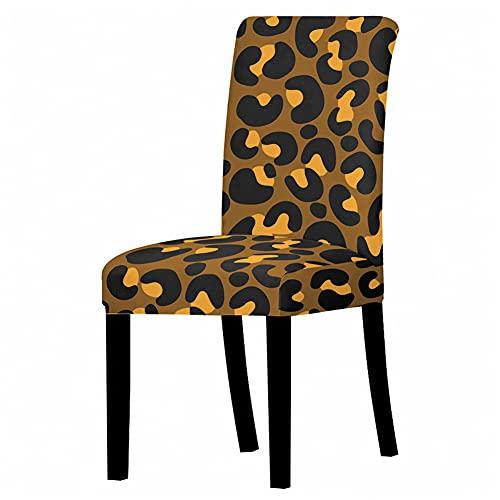 Chickwin Fundas Decorativas para Sillas de Comedor - Patrón de Leopardo 3D Impresión Fundas para Sillas Pack de 1/2/4/6, Respaldo Alto Fundas Sillas Elasticas Funda de Silla (Marrón,4 Piezas)