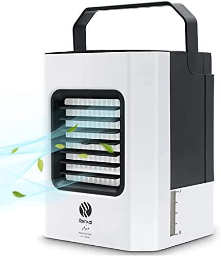 Aire Acondicionado Portatil, Climatizador Evaporativo con Funciones de Humidificación y Purificación de Aire, 3 Velocidades de Viento, Cable USB, Enfriador de Aire Adecuado Para la Oficina y el Viaje