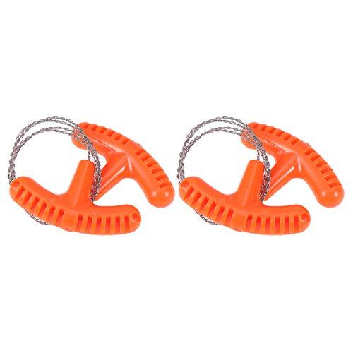 LIOOBO 2pcs Filo di Acciaio Esterno Sega a Catena di Sopravvivenza di Emergenza Sega a Mano per Viaggi Campeggio Escursionismo Caccia Arrampicata Strumento di Sopravvivenza (Arancione)