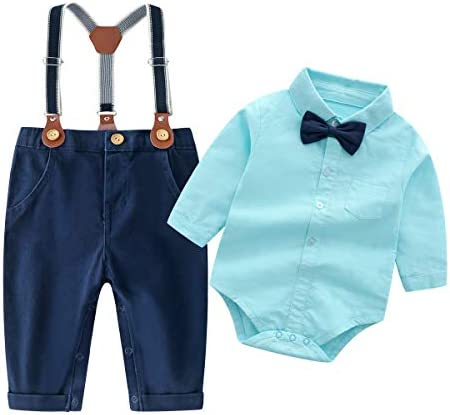 Baby Boys Gentleman Outfits Suits Infant Long Sleeve Shirt Bib Pants Bow Tie Overalls Clothes product image