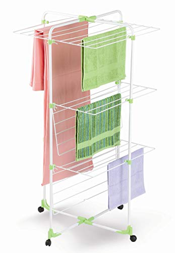 Casabriko 90002 Stendibiancheria a Torre 3 Piani, Metallo e Resina, Bianco/Verde/Azzurro, 67x4x128 cm