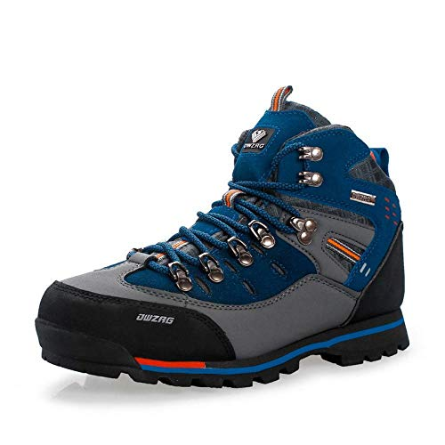 Treaded Sole Trainers,Calzado de Fitness para Trail Running,Zapatos de Senderismo de Gran tamaño al Aire Libre de caña Alta para Hombre, Zapatos de Senderismo para Correr-Gris/Azul Zafiro_45#