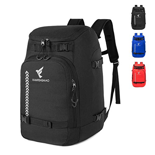 XIANFENGNIAO Ski Boot Bag, Lightweight Ski Boot Travel Backpack for Ski & Snowboard Boots, Helmets, Goggles, Gloves & Outerwear for Women, Men and Kid (Black)