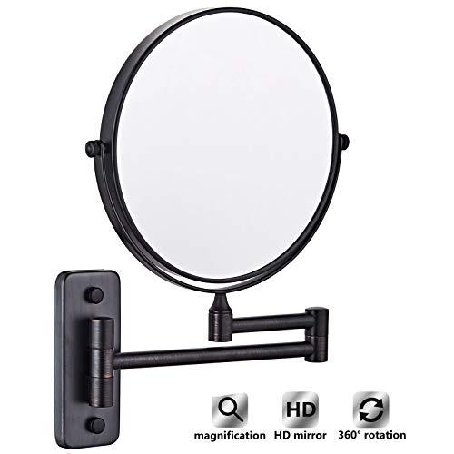 CLIOY 8 Inch Vanity Spiegels, Make-up Spiegel Wandsteun met 3X Vergroting, Intrekbare Make-up Spiegel 360 ° Draaibare Extension Vanity Spiegel voor Badkamer (Zwart)