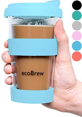 Glas Kaffeebecher To Go | Doppelwandig Isolierung Kaffeetasse | 340 ml Travel Mug mit sicherem Deckel | Coffee Becher für zu Hause, Büro oder Auto | Elektrisch Blau)