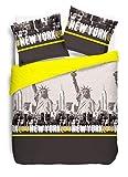 Vission New York - Funda nórdica y 2 Fundas de Almohada a Juego, algodón, algodón, Amarillo, 200 x 200 cm