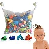 Bad Spielzeug Netz Badewanne Spielzeug Netz Baby Spielzeug Organisator Baby Spielzeug Tasche 2 Saugnapfhaken 45 × 35cm weiß