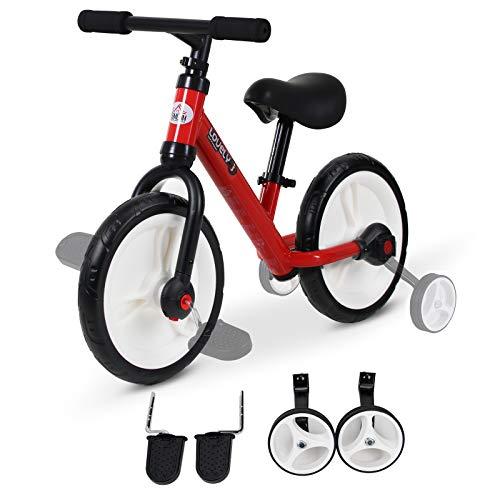 HOMCOM Kinder Laufrad, Lauflernrad, Kinderfahrrad, 2-in-1, Kinderrad mit Stützrädern und Pedalen, 2-5 Jahre, Sitzhöhenverstellbar, PP, Rot, 85 x B36 x H54 cm