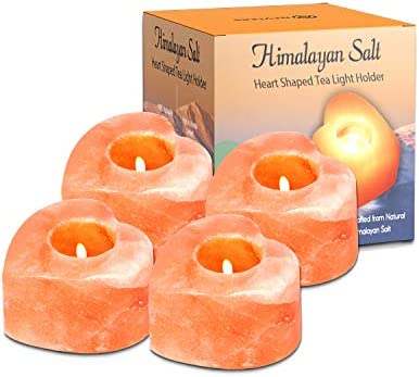 Nevlers Natural Handcrafted Himalayan Salt Tealight Candle Holders Heart Shaped Design 4 Pack product image