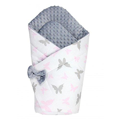 TupTam Baby Winter Einschlagdecke Warm Wattiert Minky, Farbe: Schmetterlinge Rosa/Grau, Größe: ca. 75 x 75 cm