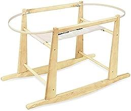 dark wood moses basket rocking stand