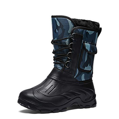 Jiahe Männer Schnee lädt Winter Tarnung Regen Schuhe wasserdicht mit Pelz Plüsch Warm Männliche beiläufige Mittler-Kalb Arbeit Angeln Stiefel,D,44