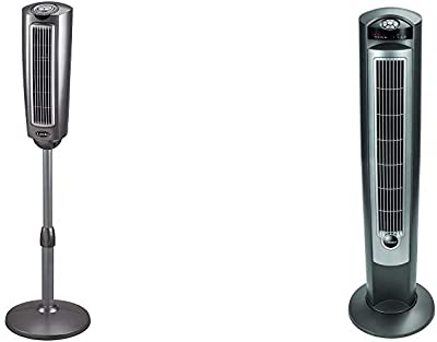 """Lasko 2535 52″ Space-Saving Pedestal Tower Fan with Remote Control & Portable Electric 42"""" Oscillating Tower Fan with Nighttime Setting, Timer and Remote Control for Indoor, Silver T42951"""