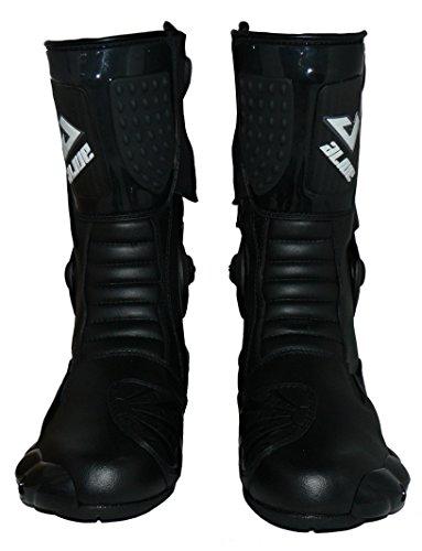 Protectwear TS-006-43 Motorradstiefel Racing aliue, Wasserabweisend aus schwarzem Leder mit aufgesetzten Hartschalenprotektoren, Größe 43, Schwarz - 5