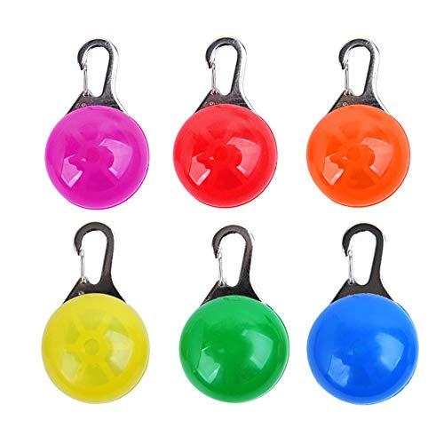 LED Cane Collare, 6pcs Clip On Pet Luce Luci Colorate Impermeabili Clip su Luci di Sicurezza con Moschettone in Acciaio Inox,Cani, Gatti, Escursioni, Arrampicata, Campeggio (Batteria Inclusa)