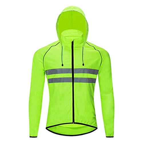 Beylore Chaqueta de ciclismo para mujer, reflectante, impermeable, con capucha oculta, transpirable, para correr, para mujer, de alta visibilidad, para ciclismo, correr, color verde, XXL
